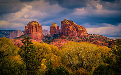 Stormy Skies Over Cathedral Rock Poster