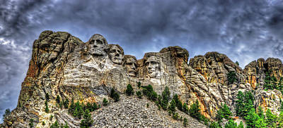Stormy Skies Over Mt Rushmore Poster