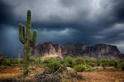 Stormy Skies Over The Superstitions Poster by Saija  Lehtonen