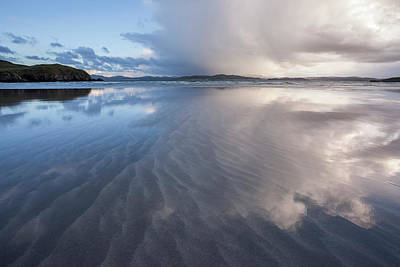 Stormy Skies Reflecting In The Sand Poster by Peter McCabe