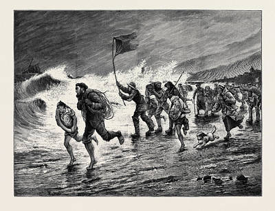 Stormy Weather  Making Signals To The Wreck Poster by English School