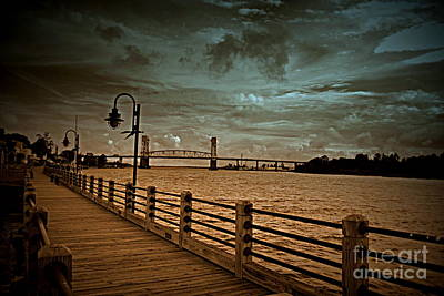 Stormy Wilmington Riverwalk  Poster