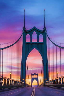 Straight Down The Bridge Poster by Lori Grimmett