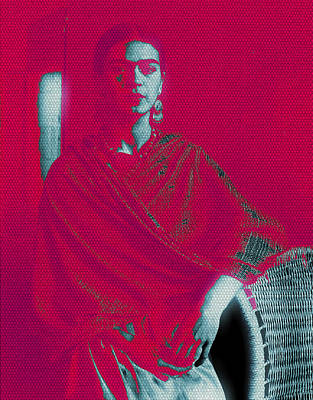 Poster featuring the mixed media Strange Frida by Michelle Dallocchio