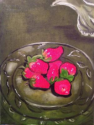 Poster featuring the painting Strawberries by Brindha Naveen
