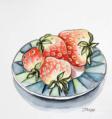 Strawberries On Plate Poster