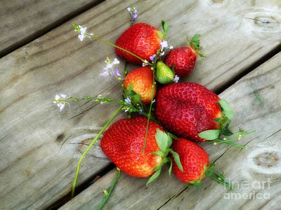 Poster featuring the digital art Strawberrries by Valerie Reeves