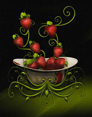 Poster featuring the digital art Strawberry Fancy by Katy Breen