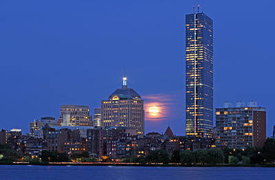 Strawberry Supermoon Over Boston Skyline Poster by Juergen Roth