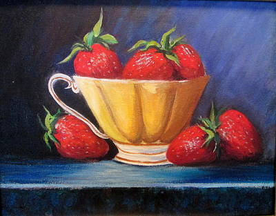 Strawberry Teacup Poster