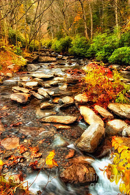 Stream Into Fall - Great Smokey Mountains Poster