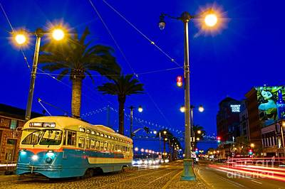 Street Car On The Embarcadero In San Francisco Poster by Mel Ashar