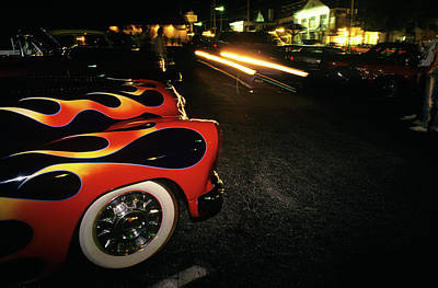 Street Hot Rods Flames Whitewall Tires Poster
