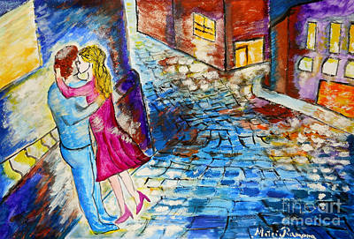 Street Kiss By Night  Poster by Ramona Matei