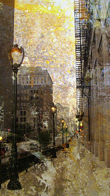 Street Lamp And Gold Metallic Painting Poster