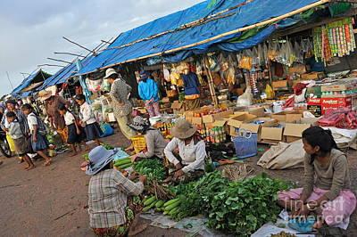 Street Market In Siem Reap Poster