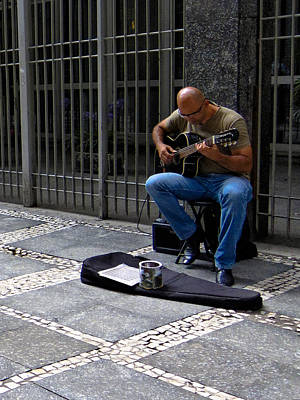 Street Musician - Sao Paulo Poster by Julie Niemela