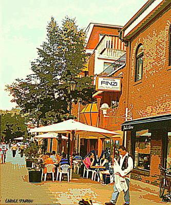 Street Musician Serenades The Terrace Umbrella Crowd At Ristorante Finzi Italienne Cafe Scene Poster