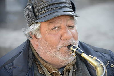Poster featuring the photograph Street Musician - The Gypsy Saxophonist 1 by Teo SITCHET-KANDA