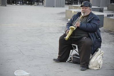 Poster featuring the photograph Street Musician - The Gypsy Saxophonist 3 by Teo SITCHET-KANDA