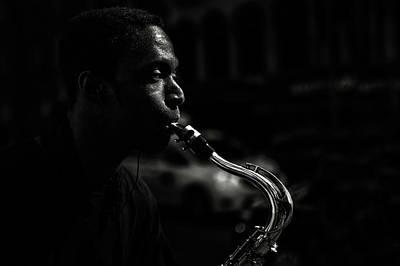 Street Saxophone Musician Poster