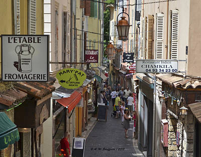 Poster featuring the photograph Street Scene In Antibes by Allen Sheffield