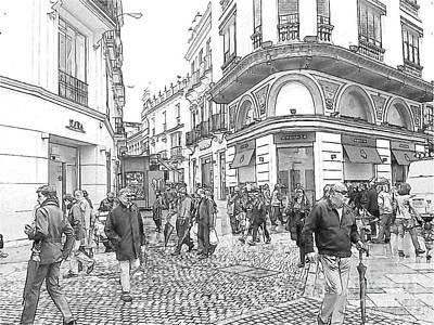 Street Scene In Seville Poster