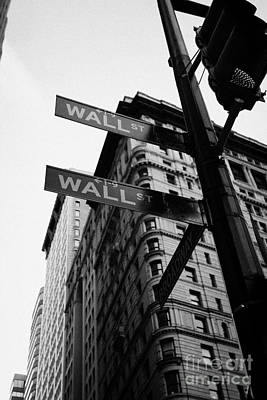 Street Signs At The Junction Of Wall Street And Broadway New York City Poster