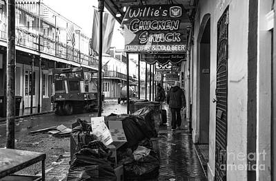 Street Sweeper On Bourbon Street Mono Poster by John Rizzuto