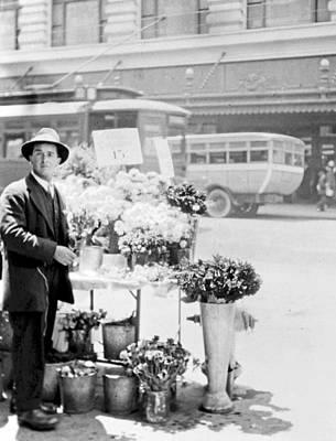 Street Vendor Flower Stand San Francisco 1916 Poster by A Gurmankin