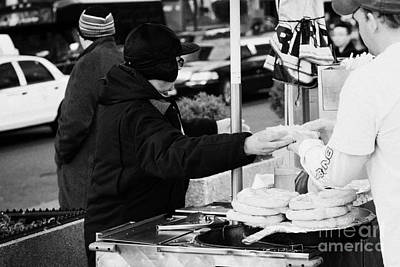 Street Vendor Selling And Handing Over Hot Dogs New York City Poster