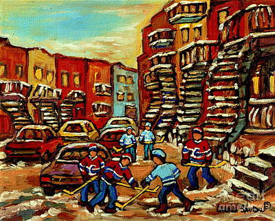 Streets Of Verdun Paintings He Shoots He Scores Our Hockey Town Forever Montreal City Scenes  Poster by Carole Spandau