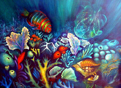 Poster featuring the painting Striped Fish by Lynn Buettner