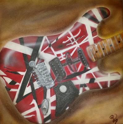 Striped Guitar Poster
