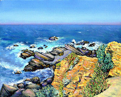 Striped Rocks Near Timber Cove Poster by Asha Carolyn Young