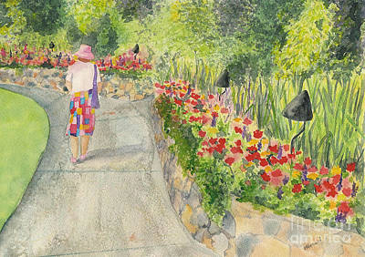Poster featuring the painting Strolling Butchart Gardens by Vicki  Housel