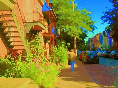Strolling Sunny Summer Streets Staircase Scene Sleepy Neighborhoods Art Of Montreal Carole Spandau  Poster