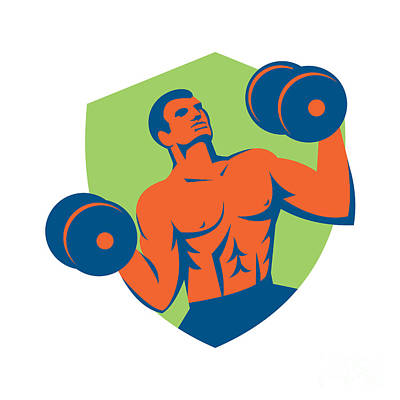 Strongman Crossfit Lifting Dumbbells Shield Retro Poster