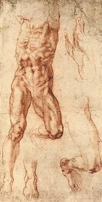 Studies For Haman Poster by Michelangelo Buonarroti