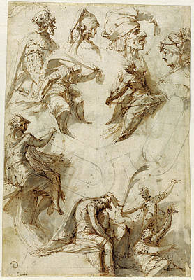 Studies Of Figures And Architecture Recto,  Figure Studies Poster by Litz Collection