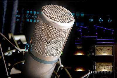 Poster featuring the photograph Studio Microphone And Recording Gear by Gunter Nezhoda
