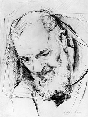 Study For A Padre Pio Monument, 1979-80 Charcoal On Paper B&w Photo Poster