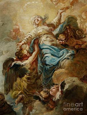 Study For The Assumption Of The Virgin Poster by Jean Baptiste Deshays de Colleville