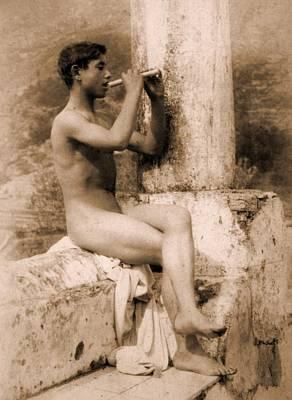 Study Of A Boy Playing A Flute Poster by Wilhelm von Gloeden