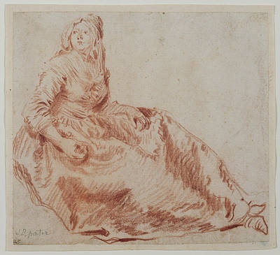Study Of A Seated Woman Jean-baptiste Pater Poster