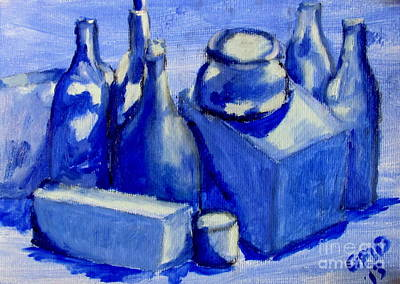 Study Of Boxes And Bottles Poster