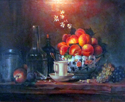 Poster featuring the painting Study Of Peaches by Donna Tucker