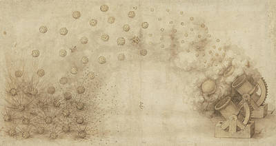 Study Of Two Mortars For Throwing Explosive Bombs From Atlantic Codex Poster by Leonardo Da Vinci