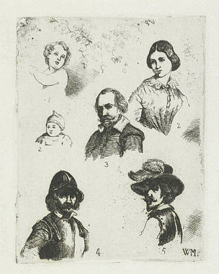 Study Sheet With Six Busts, Christiaan Wilhelmus Moorrees Poster