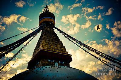 Stupa Boudhanath At Evening In Kathmandu Poster